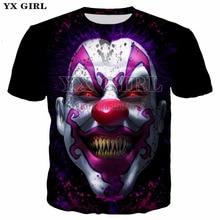 2018 Summer Unisex O-neck Short Sleeve Tees Horrible Clown The Joker Mask 3d Print T shirt for Men/Women Awful Printing T-shirt цена 2017
