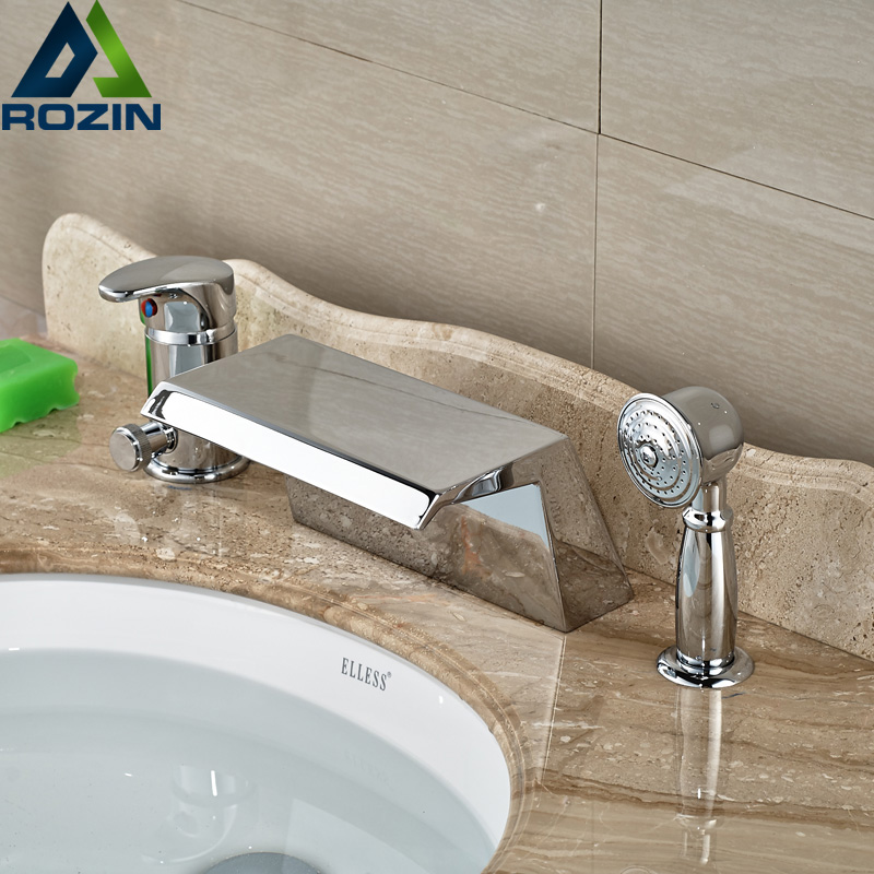 Luxury Wide Waterfall Bathtub Faucet Set Deck Mount Bath Tub Mixer Tap with Brass Handheld Shower 3pcs free shipping polished chrome finish new wall mounted waterfall bathroom bathtub handheld shower tap mixer faucet yt 5333