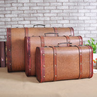 Vintage Leather Case European Window Decoration Display Retro Wooden Suit Box Clothes Storage Box Luggage Case Photography Props