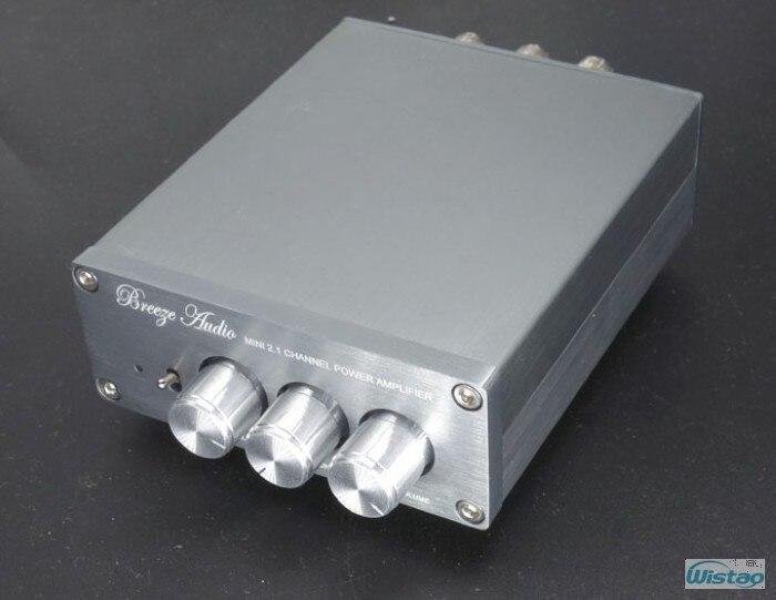 Amplificateur numérique HIFI 2.1 2x50 W + 100 W TPA3116D2 caisson de basses non compris adaptateur secteur boîtier aluminium argent blanc livraison gratuite