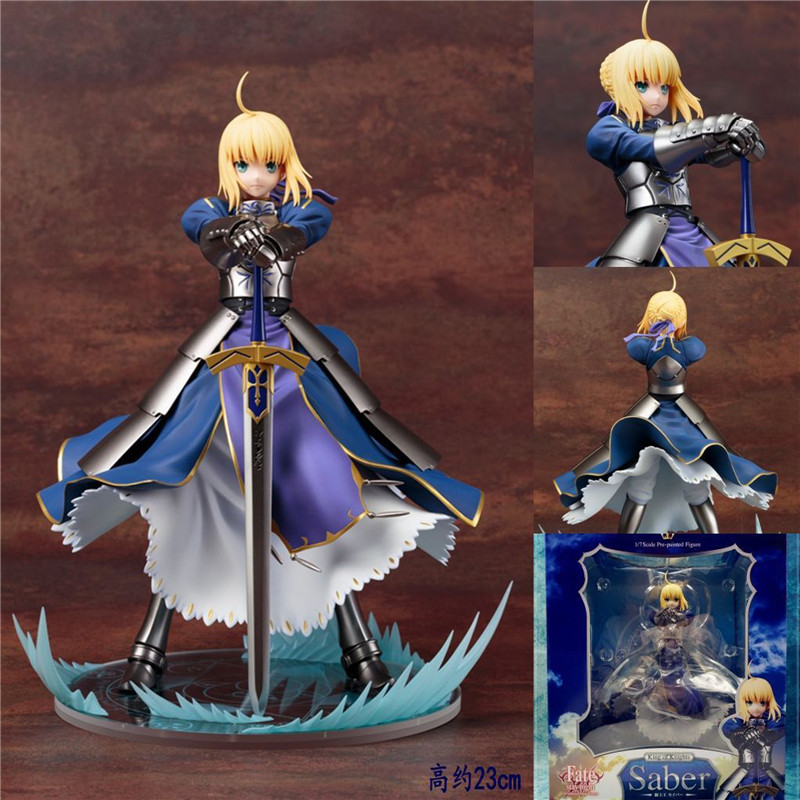 Promspland 1pc/lot Anime Fate Stay Night Altria Pendragon UBW Saber PVC Action Figures Collectible Model Toys Retail Box 23cm avengers movie hulk pvc action figures collectible toy 1230cm retail box
