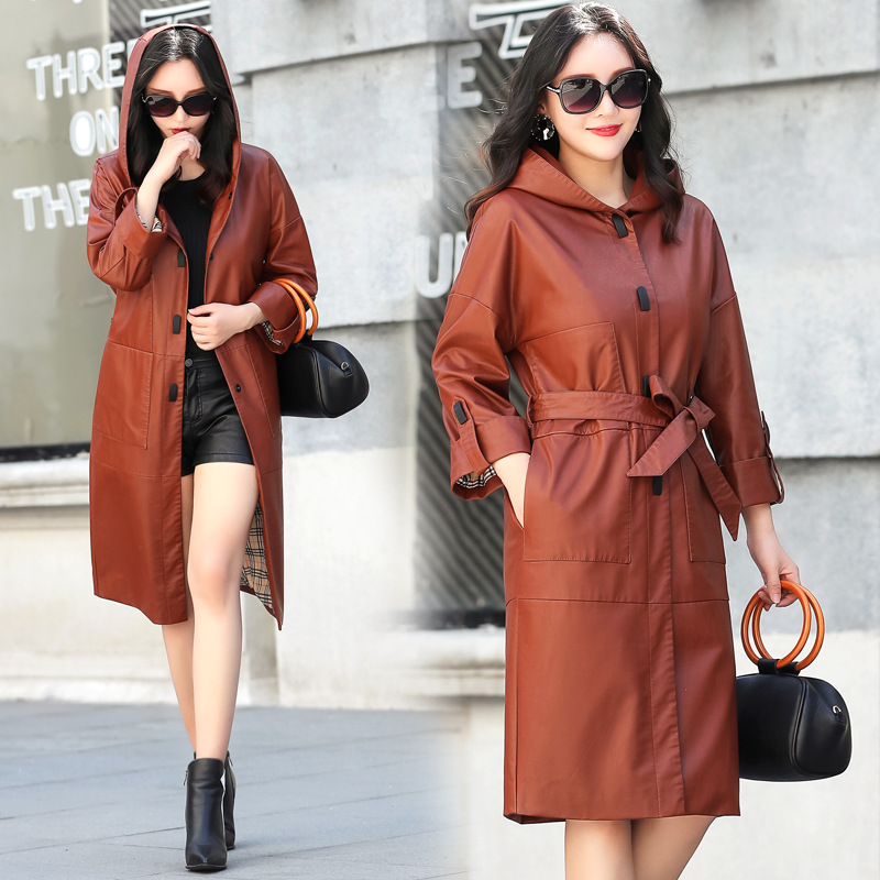 SWREDMI 2019 Spring Long   Leather   Trench Women Hooded   Leather   Clothing High Street Outerwear Faux   Leather   Plus Size   Leather   Coats