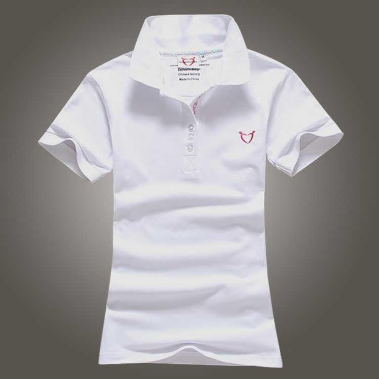 サイズ S-4XL 女性ポロシャツ 2017 春夏コットンレディース半袖 tシャツ女性のターンダウン襟刺繍固体ポロ y45
