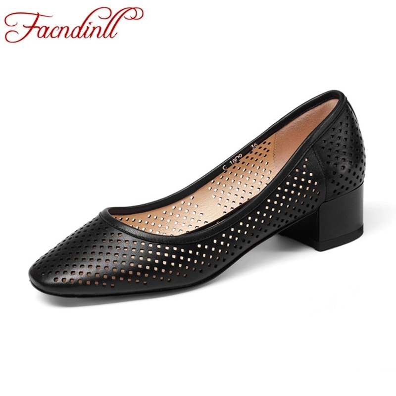 FACNDINLL summer women pumps shoes sheep leather woman middle heels new hollow square heel pumps ladies casual date office shoes facndinll women pumps fashion middle heels pointed toe shoes woman square toe shoes ladies offcie dress casual date woman pumps