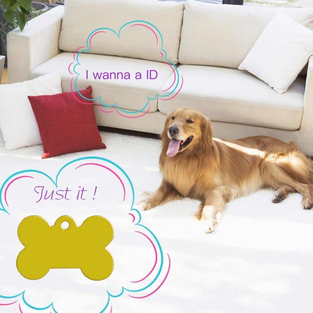 2pcs 38mm Aluminum Alloy Bone Shape Pet ID Tag Identification Personalized Pet Accessories Dog Cat ID Tag Pendant NEW