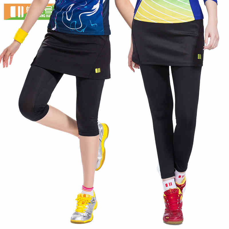 ФОТО New Sports Women Fake 2-Pieces Running Leggings Hot Outdoor Fitness Tennis Pants Skirts New Gym Female Badminton Tights Skirt