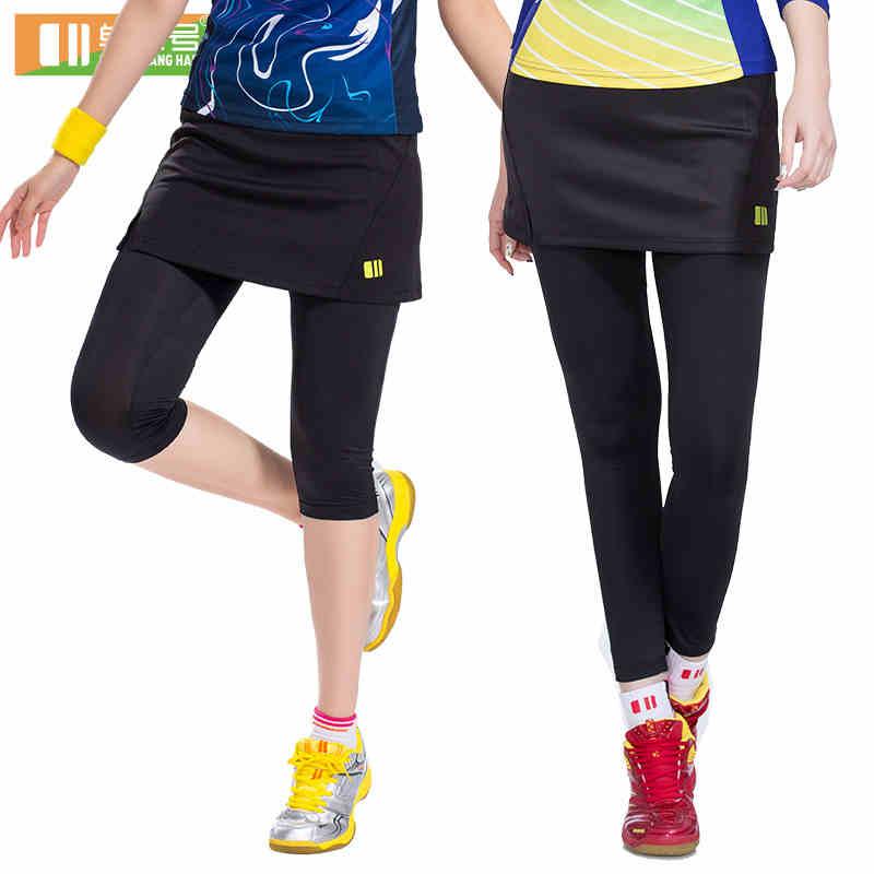 Women Sports Legging Fake 2 Pieces Skorts Running Compression Pants Tennis Skirts Gym Tights Badminton Tights Skirt 23041