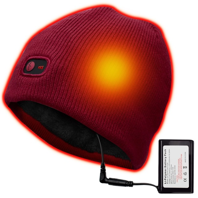 Red 7.4V battery heated Beanie Caps for Women Heated WarmStretchy Soft  Winter Knit Caps Headwear 1