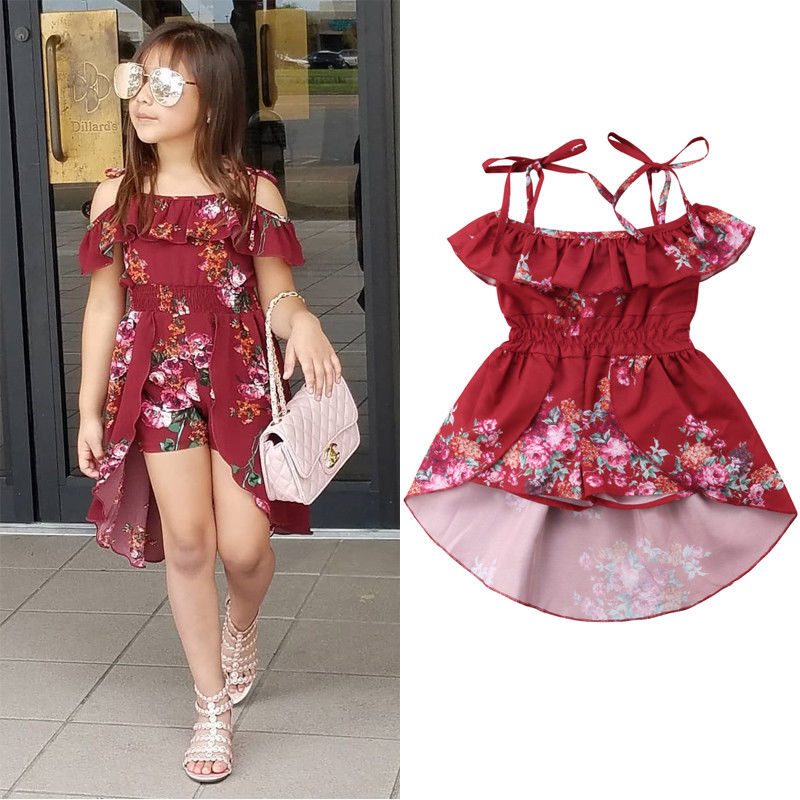 Toddler Kid Baby Girl Clothing Cold Shoulder Floral Dress Romper Jumpsuit Summer