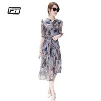 Fitaylor 2017 Spring And Summer Women Silk Print Slim Dress Casual Elegant Elastic Waist Medium Long