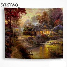 forest farmhouse tapestry Sunset glow river duck   wall blanket home decor dorm room wall cloth tapestries