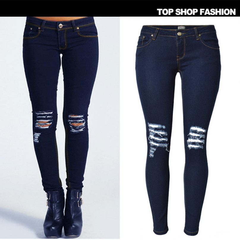 Liva Girl Spring Women Low Waist Sexy Knee Hole Skinny jeans Brand fashion pencil pants denim trousers Plus Size ripped jeans selected homme куртка