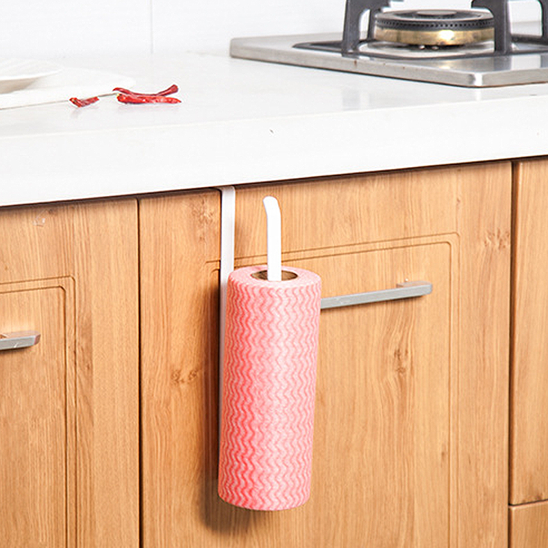 2pcs Space Saving Paper Towel Holder Dispenser Under Cabinet Paper Roll Holder Rack Without Drilling For Kitchen Bathroom Bathroom Hardware Home Improvement