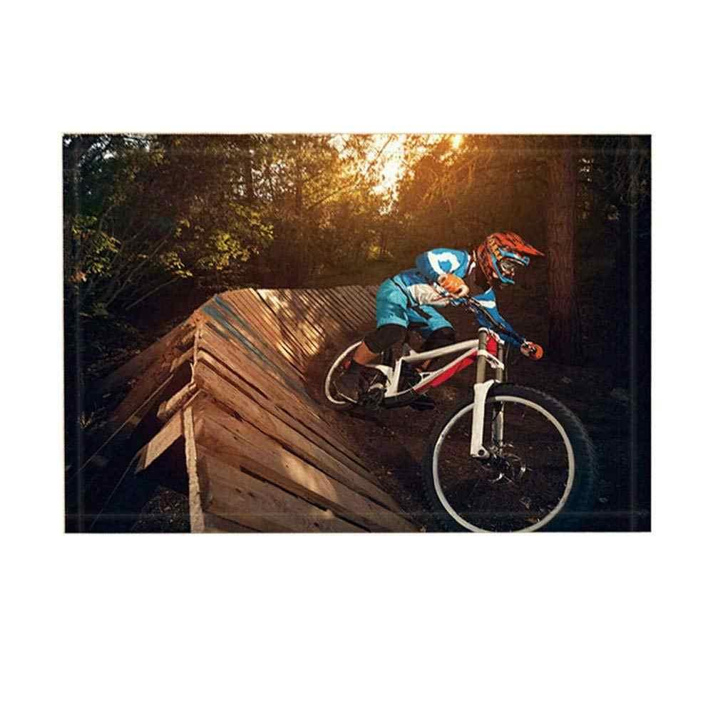 Tapetes De Banho esporte Por, Selva Aventura Extrema bicicleta Esportes Pista De Madeira, non-Slip Entradas Interior do Assoalho Capacho Tapete Porta Da Frente