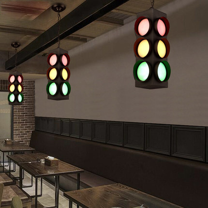 Creative Traffic Lights Style Suspension Luminaire Loft Vintage Pendant Light Bar Personality Industrial Style Pendant Lighting wholesale xi an traffic light poles octagonal monitor bar