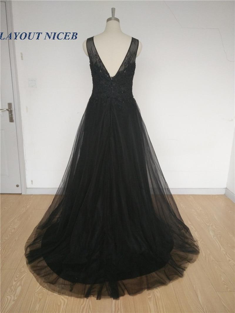 6f1dec8cb1 Vestido Social Long Black Evening Dresses Beaded Lace Prom Dresses 2016 V  Back Tulle Applqiue Robe de Soiree Courte Women WT23G-in Evening Dresses  from ...