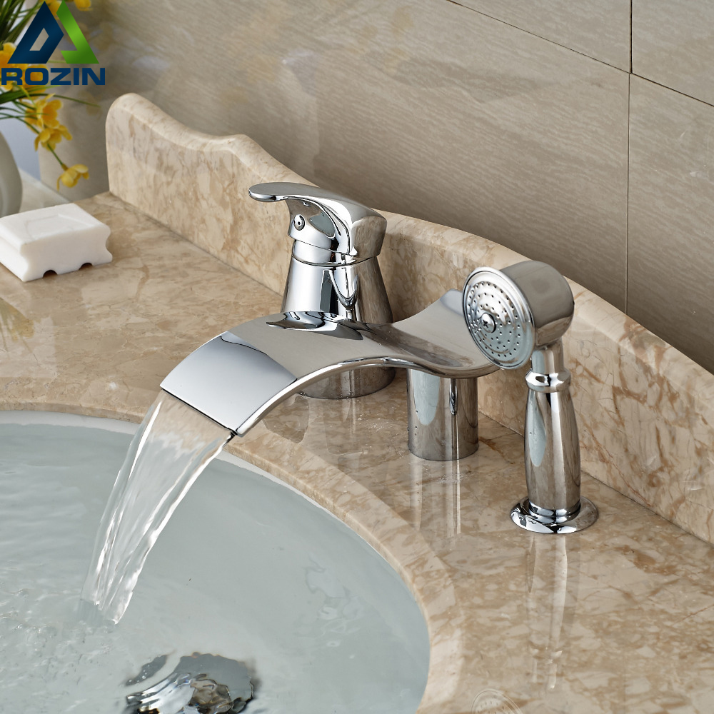 Unique Design Curve Waterfall Spout Bathtub Mixer Taps 3pcs Brass Tub Shower Faucet with Handshower