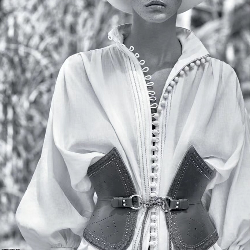 Chic piste Designer hauts 2019 femmes élégant col montant lanterne manches lâche blouses décontractées blanc noir blusa feminina