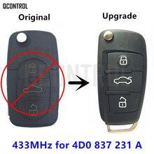 QCONTROL 4D0837231A Upgrade Car Remote Key for AUDI A3 A4 A6 A8 RS4 TT Allroad Quttro 433MHz 4D0 837 231 A 1994 – 2004