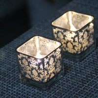 1 Pcs Square Candles Holders Handmade Mosaic Candle Holder Romantic Candlelight Dinner Wedding Party Candle Lamp