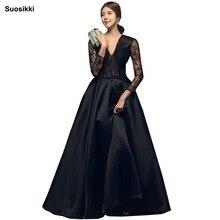 Купить с кэшбэком Robe De Soiree Long Sleeves Burgundry Long Evening Dresses 2018 Floor Length Vintage Lace Top Cheap Prom Dresses