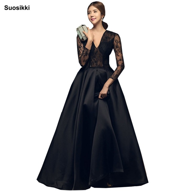 Robe De Soiree Long Sleeves Burgundry Long Evening Dresses 2018 Floor  Length Vintage Lace Top Cheap Prom Dresses c97d1f236b21