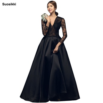 цена на Robe De Soiree Long Sleeves Evening Floor Length Vintage Lace Top Cheap Prom Dresses
