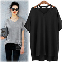 Women sexy off shoulder sumemr top casual ladies short sleeves V-Neck tee 100% cotton plus size knitted grey blank color T-shirt
