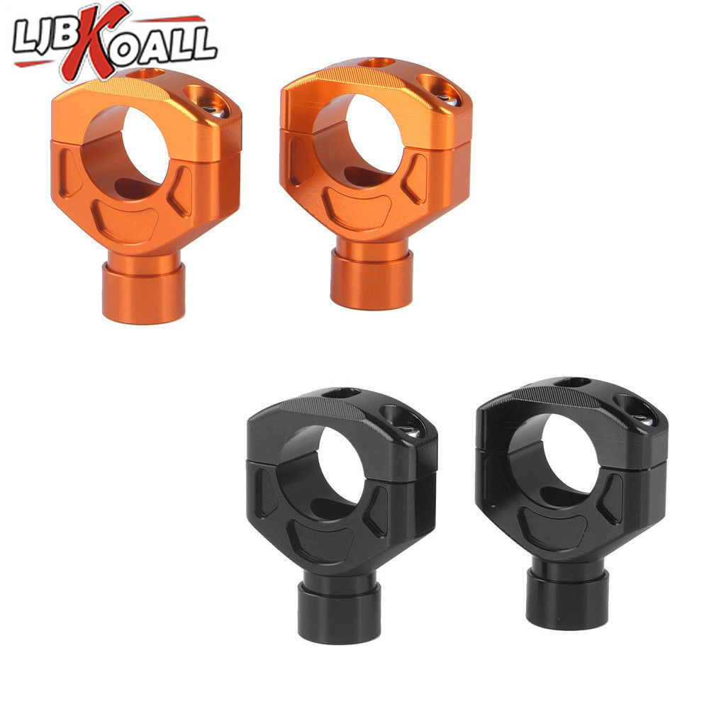 1 Pair 28mm-28.3mm Aluminum Handlebar Bar Mount Riser Clamp Kit For KTM Duke 390 690 LC4 Enduro R Supermoto SMC-R Orange Black crash bar mt 09