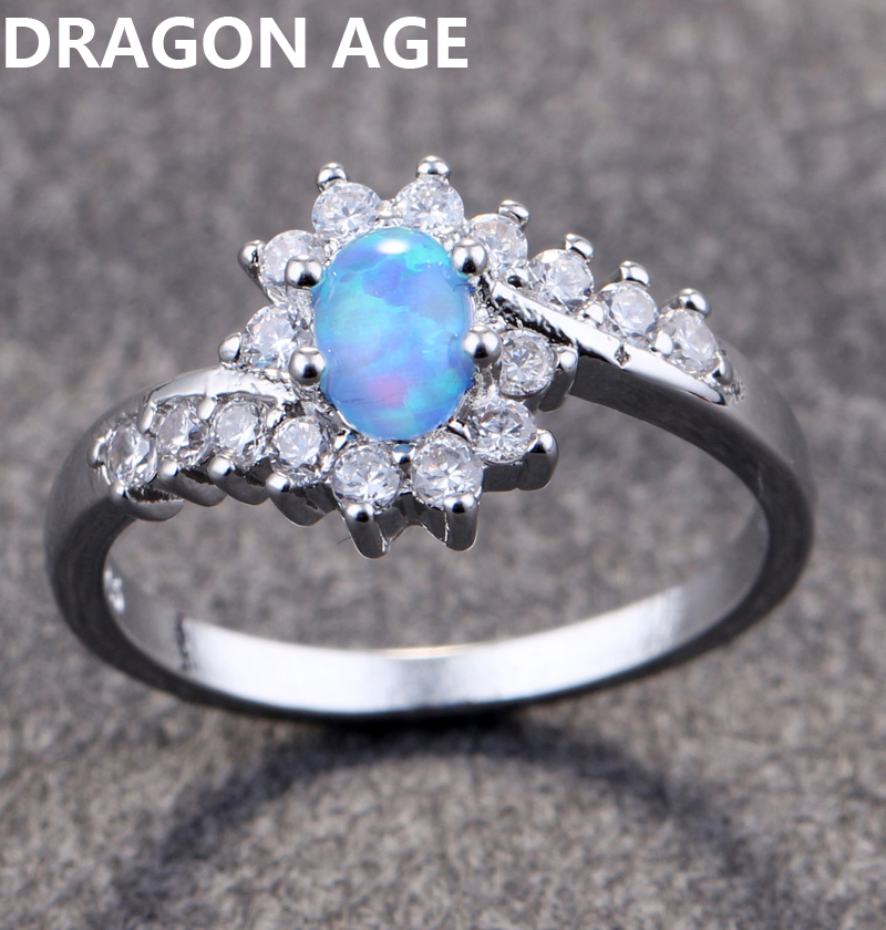 2018 New Trendy Big Oval Egg Shape Plated Blue Opal Rings For Wedding Party Finger Rings Gift For Women Fine Jewelry Size 6-10