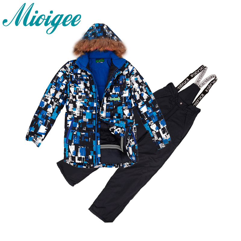 Mioigee 2017 New Children`s set Big Boys Thicken Ski Suit Winter Warm Tracksuit for Boy Kids Clothes for boys