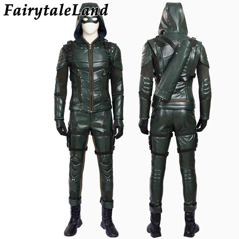 Green Arrow season 5 cosplay costume Adult men fancy Halloween costumes Oliver Queen Green Arrow Costume leather battle suit