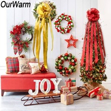 OurWarm Christmas Bow Tree Topper DIY Supplies Home Christmas Tree Decoration Large Size Bowknot Bouquet Red/Gold