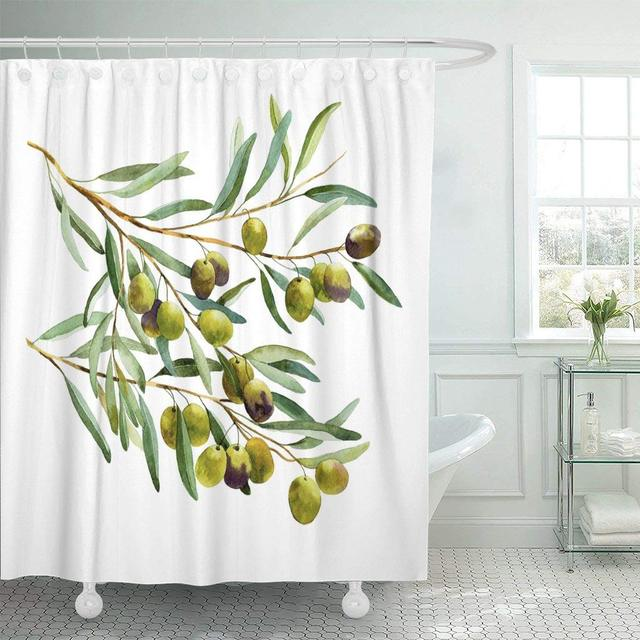 Fabric Shower Curtain With Hooks Green Tree Olive Branch Watercolor Leaf Paint Sketch Vegetable Oil Brush Berry