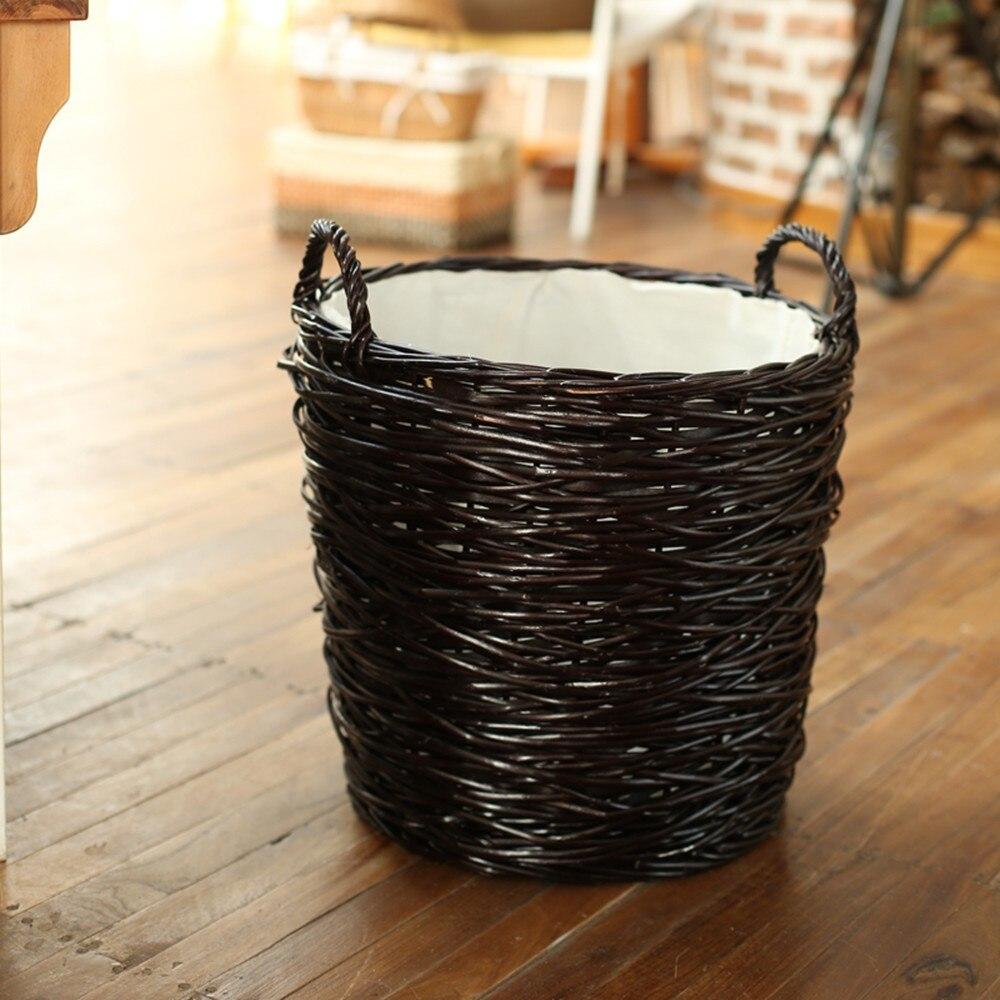 Home Storage Organization Laundry Basket Hamper Handmade Woven Wicker Round Clothes Laundry Sorters Basket panier de rangement