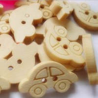 1000pcs car people head Wooden Buttons 2 Holes Natural Sewing Button Craft Scrapbooking Products 20*12mm 002002011