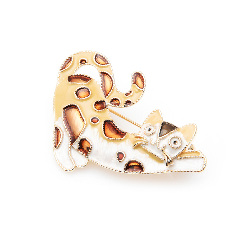 Wuli baby Enamel Brown Cat Spot Leopard Brooches Women Animal Brooch Pin 2019 in Brooches from Jewelry Accessories