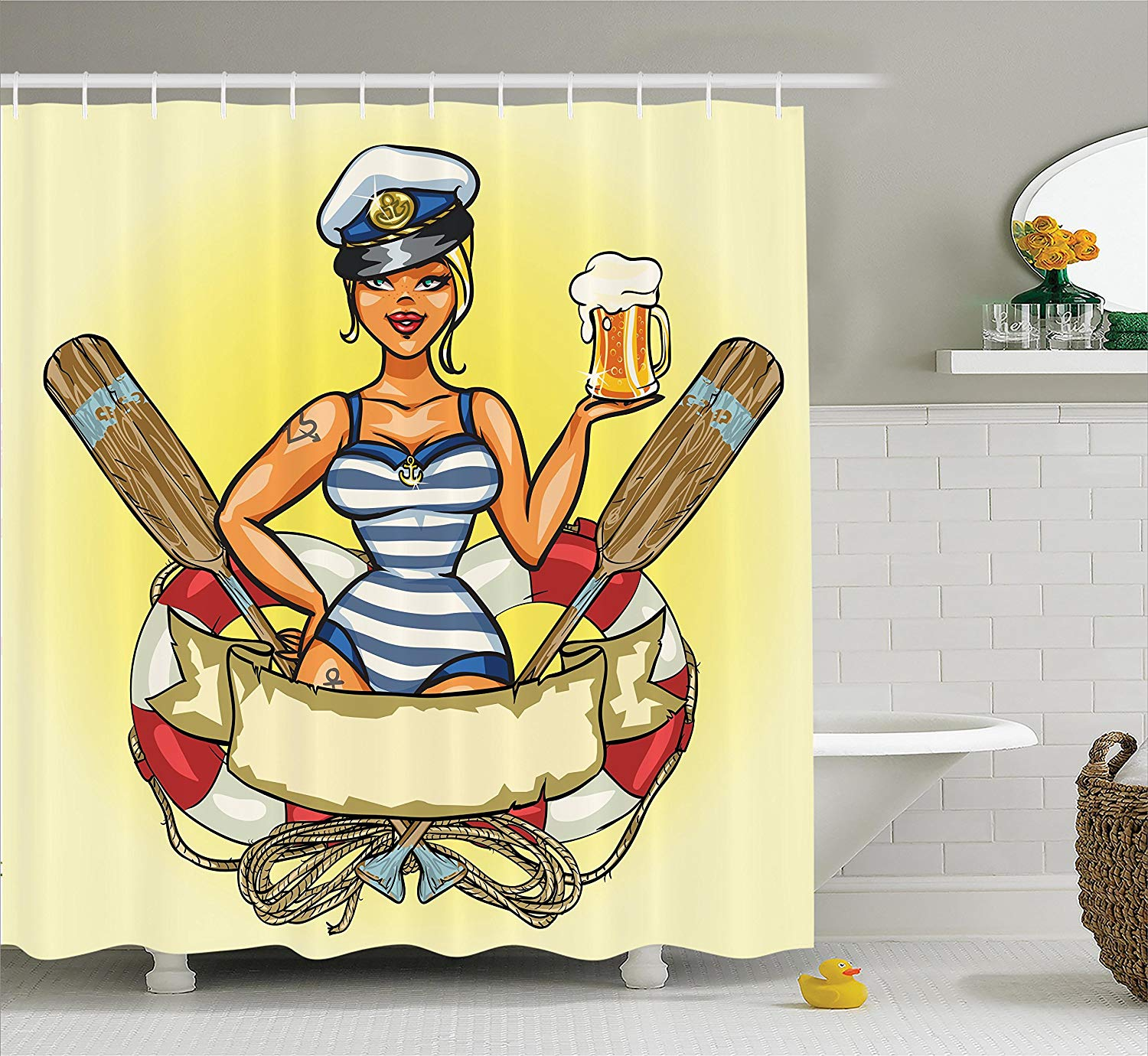 Girly Decor Shower Curtain Pin Up Sexy Sailor Girl In Lifebuoy With Captain Hat And -2012