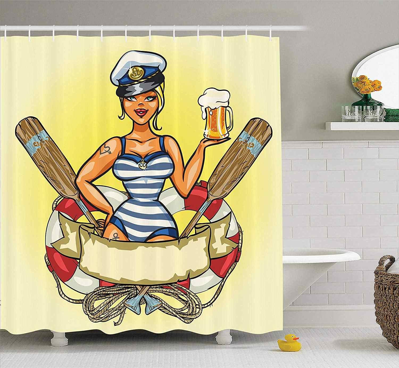 Girly Dekor Pancuran Tirai Jarum-Hingga Seksi Sailor Perempuan Dalam Lifebuoy dengan Kapten Topi dan Kostum Girder desain Feminin