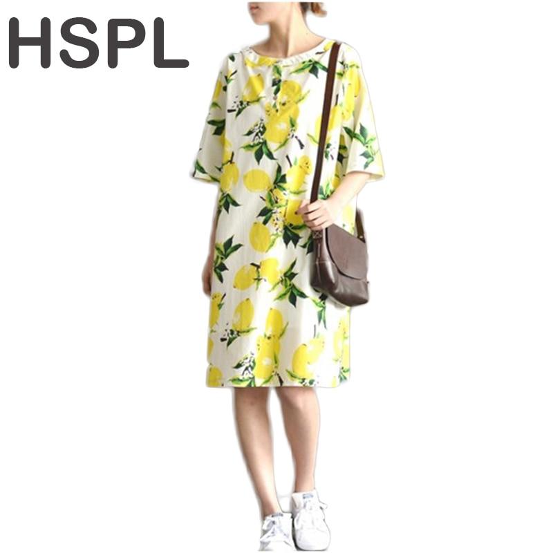 hSPL Plus Size Dress 2017 Ladies Tunic Casual Yellow Floral Retro Vintage Cotton Linen Loose Flower bayan elbise New Dresses