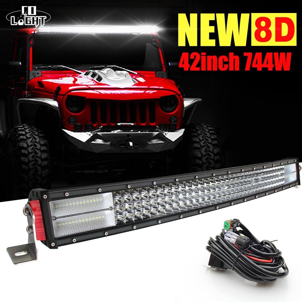 CO LIGHT Offroad 8D LED Bar Curved 42 744W LED Work Light Bar for Truck UAZ GAZ Boat Lada 4x4 ATV Car-styling Automobile 12V24V