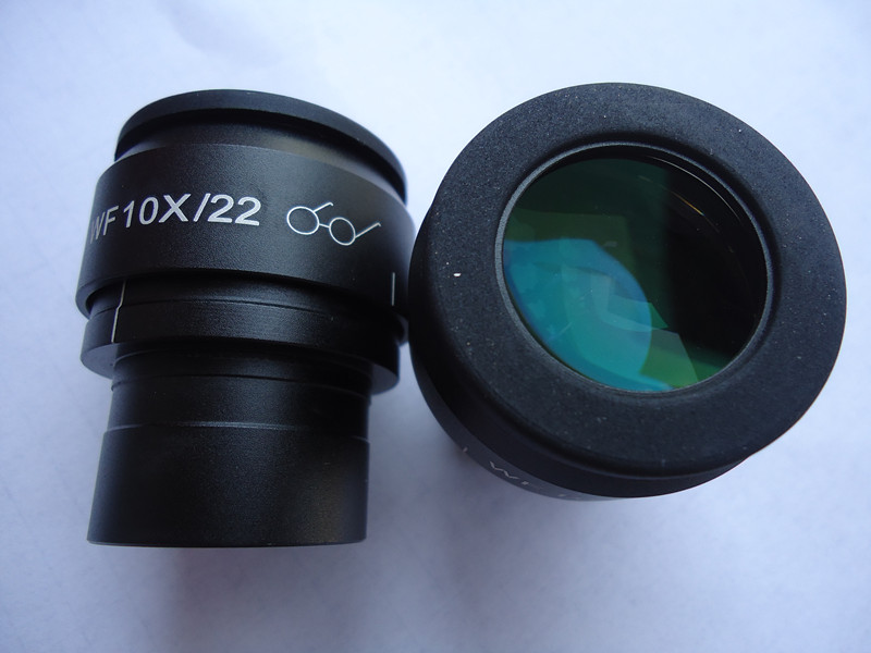 WF10X/22mm Microscope High Eyepoint Eyepiece Optical Lens Adjustable With Field of View Green Film Mounting Size 30mm aiboully 20x eyepieces for a variety of stereo microscopes interface size 30mm universal size lens coating high point of view