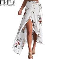 Nouvelle Mode 2017 Printemps Été Jupes Femmes Imprimé floral Bohême Jupe Femmes Filles Casual Lâche Longue Jupe Femmes Plus La Taille