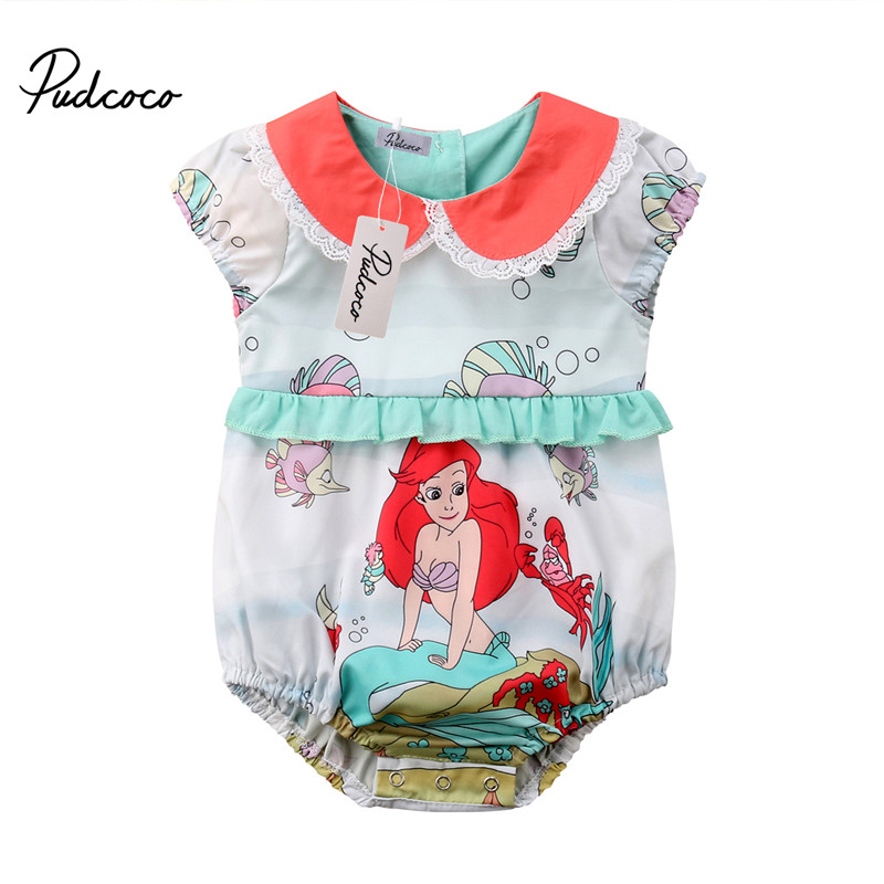 Sweet Newborn Baby Romper Boy Girl Summer mermaid Jumpsuit 1PC 0-24M Sunsuit Outfits Baby Clothing