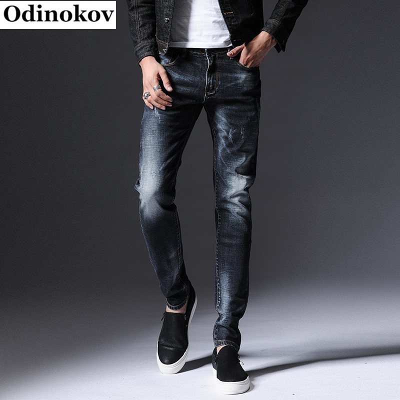 Odinokov 2017 New Design Spring Autumn Famous Brand Men Slim Jeans Male 98% Cotton Straight Pants Long Denim Trousers