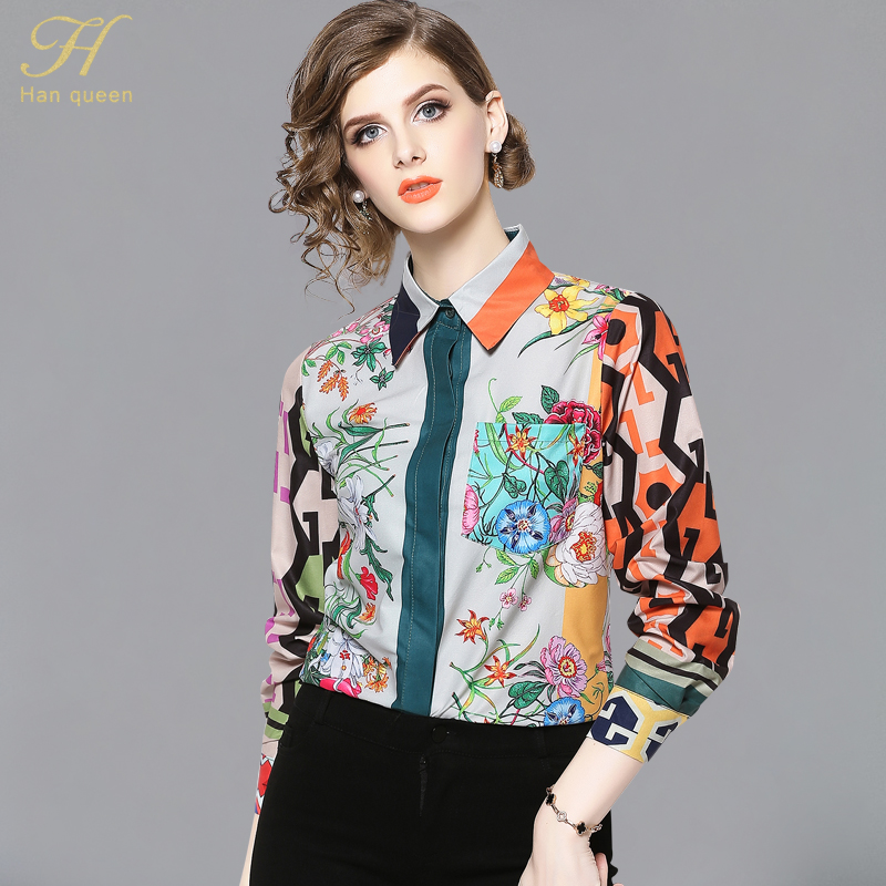 H Han Queen Women Vintage floral Print Ladies Tops chiffon Long sleeve Casual Blouse Female Work Wear Office Shirts(China)