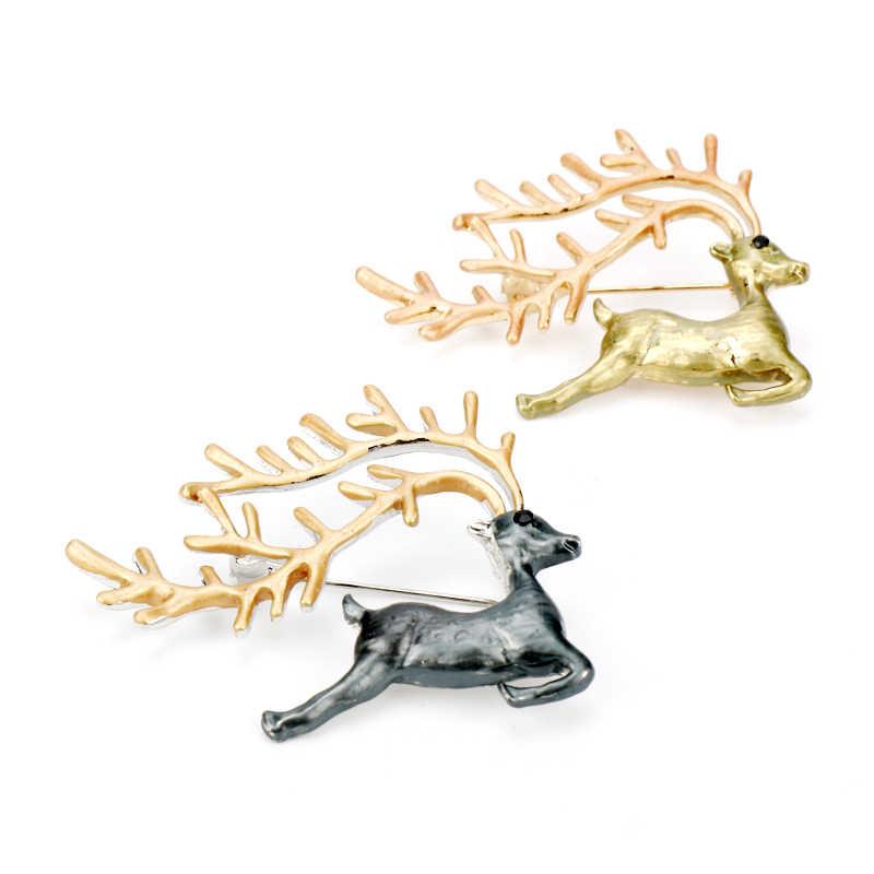 Donsgheng แฟชั่น Frosted Matte Gold เงิน Elk เข็มกลัด Retro Art Badge เข็มกลัด Xmas ของขวัญ - 40