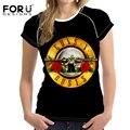 Forudesigns banda de rock guns n roses impresso mulheres t 3d camisa-manga curta moda de algodão plus size tops t-shirt camiseta feminina