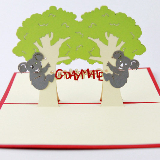 Qubiclife animal cute koala stereo greeting card australia tourism qubiclife animal cute koala stereo greeting card australia tourism creative 3d stereo blessing card in cards invitations from home garden on m4hsunfo
