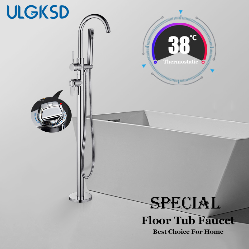 ULGKSD Thermostatic Floor Tub Faucet Single Handle Chrome/ Nickle/ ORB Brass Mixer Water Tap Para Bathtub Shower Bath Faucets